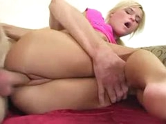 Sweet petite golden-haired girl pumped in the cunt