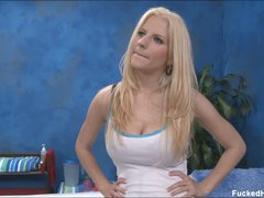 Well-endowed blonde Haley bares it all