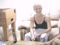 Drunk blond coed loses strip poker and masturbates