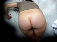 Fat ass girl hidden camera fun in bathroom