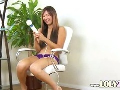 asian with huge big vibrator in act
