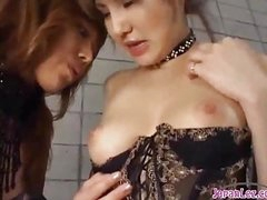 2 Hot Asian Girls In Sexy Lingerie Sucking Every Other Nipples Patting On The Mattress In The Basement