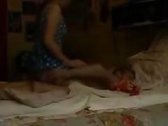 Girlfriend shows him her twat