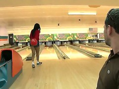 Bella loosing her ass at bowling to Jayla Foxx, he takes off her shorts, bents her over and licks out her asshole