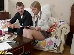 dorky blonde cutie meets a cock