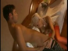 Golden-haired brings him to bedroom to have anal