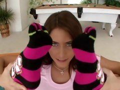 Amazing Madison Ivy flexes her feet up to her head