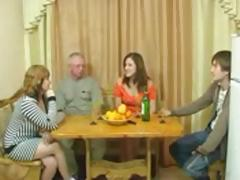 Family dinner turns into old-young sucking and fucking action