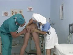 Breasty Blonde Nurse Kathy Pleasant Gets Facialized In a Bisexual Trio