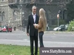 Neat old man hunting youthful girl for naughty fun
