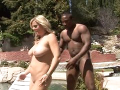 He bows over white milf by the pool