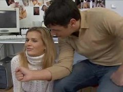 Chick in white turtleneck sweater is flexible