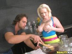Busty blonde Alyssa cooks up smth kinky