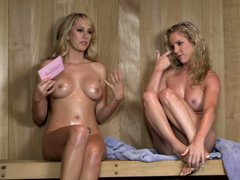 Ainsley Addison is one of two sexy naked blondes with sexy bodies and charming smiles that show it all in this video. Blondes expose their sweet boobs during the interview