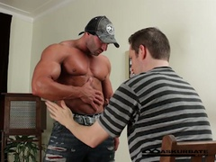 Massive muscles stripper max getting worshipped by lewd stud