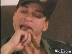 Hot military dude smokes and gets cock sucked