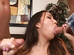 Keeani Lei is double fucked by a couple of cocks