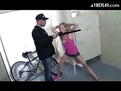Nasty Blonde Girl Getting Handcuffed Pussy Rubbed With Baton Giving Oral job For The Security Guard In The Public Toilette