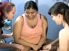 Fat indian bitch getting tickled by two hot lesbians