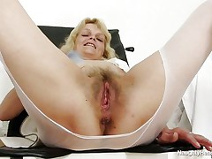 mature blonde nurse masturbating at the work