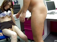 She holds the guy tight while he fucks her pussy and then gets her ass laid on the desk. Look at that cock drilling her wet, roomy cunt. Fucking whore squirts insanely but that doesn't means the fucking doesn't continues! Maybe the guy will get bored pumping her wet pussy and stick it in her, will she like that?