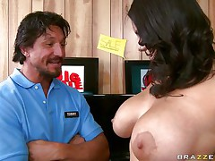 busty brunette sucks schlong