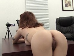 Bent over the desk and fucked her unshaved ass