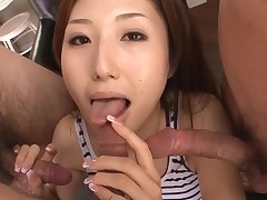 Sexy Oriental mamma in heels gets stripped and fucked on couch
