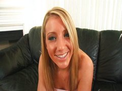 Hot blonde gets a beautiful creampie POV