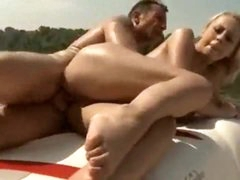 Slut on a boat has great big natural milk shakes