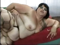 Chubby fuck in stockings drilled in the ass
