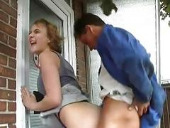 Impatient German girl gets pounded