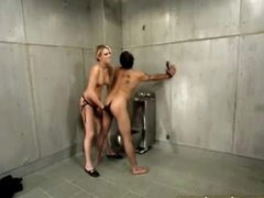 Hawt femdom in jail cell includes strapon