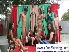 CFNM girls enjoying men in swing ready to be blowed off