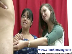 Cfnm beauties horny for cum jerking cock during drawing classes