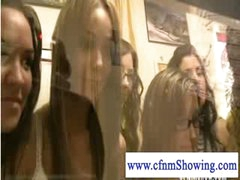 Cfnm girls enjoying a handjob and blowjob show while shopping