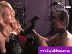 Mistress male slave pet coerced to masturbate and lick cum