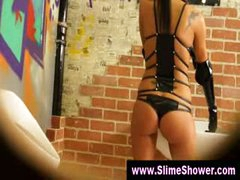 Gloryhole girls wet and messy shower