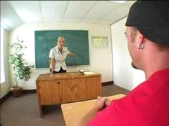 Heavily tattooed blonde teacher fucked