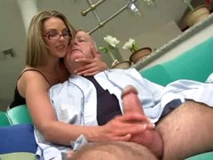 Super sexy girl in glasses screwed by chubby old dude