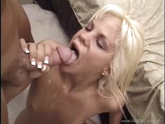 Raunchy Shay Sweet gets her mouth filled with warm semen