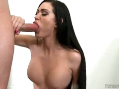Big titty girl sucks on a large cock