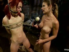 Naked pigtailed redhead Zoe Voss gets bound up and drilled hard by large titted lesbian dominant-bitch Felony. Crazy domme fucks submissive Zoe Voss in the ass.