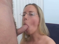 Blonde in glasses sucks cock and gets cunt pounded