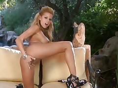 Gorgeous Nicole Graves finger fucks her moist slot