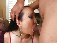 Sassy Ange Venus gets her moist throat hammered