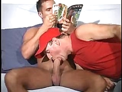 Str8 HUNG muscular Latino gets blowjob from me as he reads a Playboy