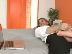 Jaslene Jade Satisfies Her Husband with a Footjob
