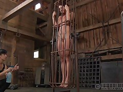 A metal cage and a harsh mistress is all that this cunt needs to be disciplined. Stick around and enjoy how the mistress plays with this naked beauty and how obedient she will become. Every naughty bitch deserves a treatment like this!