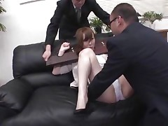 Now here's a concept that works! A horny asian milf secured with a bondage device appears to be not agree what's going to happen with her big booty. But after the guy cuts her panties with scissors and inserts his finger in her tight shaved anus she suddenly starts groaning and enjoys the treatment.